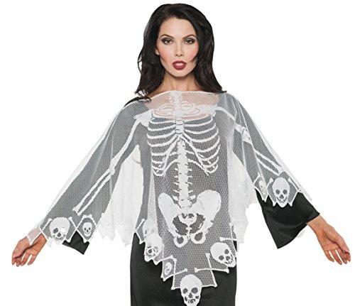 Underwraps Skeleton Print Lace Poncho White Gothic Halloween Costume Serape-OS One Size