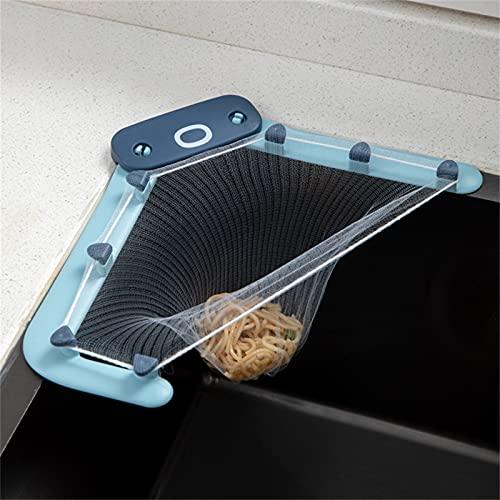 N A - Colador multiusos para fregadero de cocina, escurridor, tapón triangular para fregadero con sostén, bolsa de malla para desagüe de fregadero para cocina, 1 soporte, 50 filtros (azul)