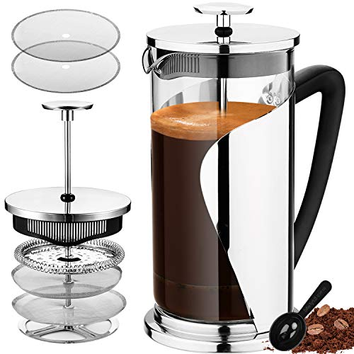 Bebeke French Press Coffee Maker - Multi Filtration System, Taste Adjustable, Grounds Free, Rust-Resistant & 20% Thicker Heat-Resistant Glass Easy-Clean (34 Oz,1000ml)