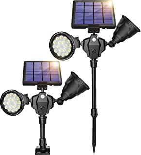 ROSHWEY Solar Spot Lights Outdoor, 1000 Lumens Bright Landscape Light 36 LED Waterproof Wall Lamps with Motion Sensor & 4 Modes for Garden Patio Garage Driveway (Pack of 2, Warm White Light)