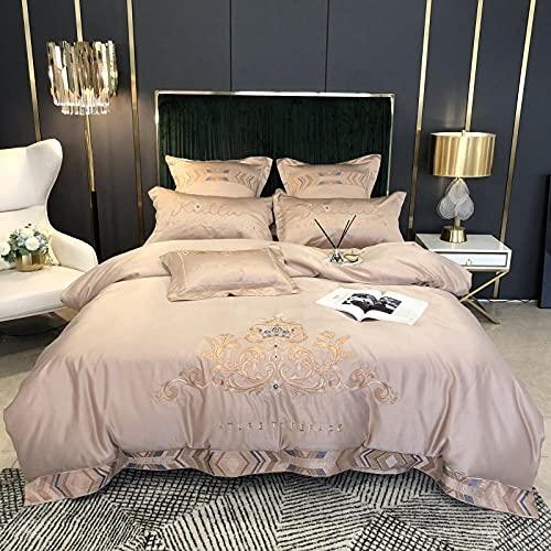 80s water wassen zijde borduurwerk beddengoed, satijn jacquard katoen ademend zachte zijde Kinecal bladen donsjack kussen condoom-G_2,0 m bed (4 stuks)