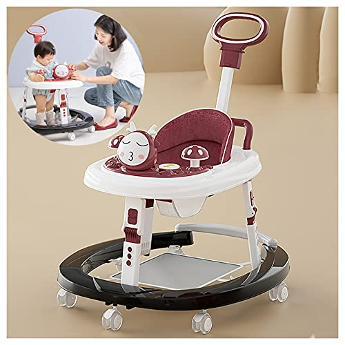 CJW-LC 7 Velocidades De Altura Ajustable Andadores De Bebé, Andador De Bebé Plegable Multifunción Antivuelco, Caminante para 6 A 18 Meses Niños Y Niñas,E