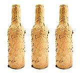 Botellas con suerte - Pack 3 Botellitas Voll-Damm Decoración Botella Vidrio Color Oro de 20cm de alto