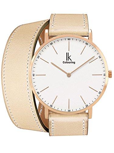 Alienwork IK Wrap2 Damen Herren Armbanduhr Quarz Rose-Gold mit Lederarmband beige Ultra-flach Slim-Uhr