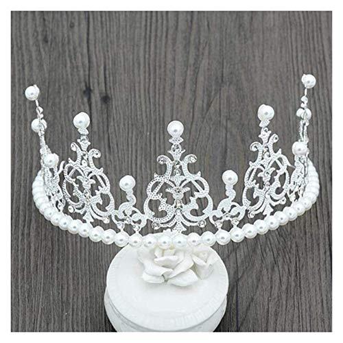 XIAOGING Accessori di Moda Nuovo Semplice Solid White Pearl Copricapo Corona di Capelli della Sposa di Cerimonia Tiara Fascia di Natale Cerchietti, Argento (Colore : Silver)
