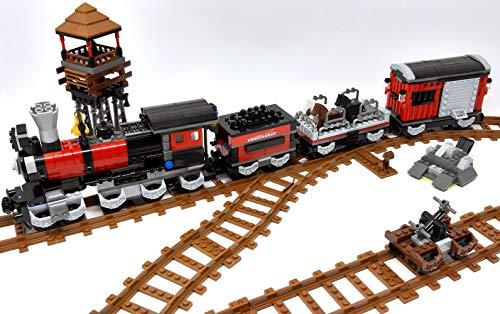 Modbrix Bloques de construcción Wild West tren con 3 vagones, rieles y drenaje