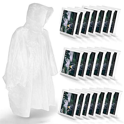 Disposable Rain Ponchos for Adults (20 Pack) - Men or Women Waterproof Plastic Clear Rain Ponchos with Hood - Lightweight Universal Design - for Disney Hiking Travel Concerts