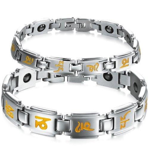 JewelryWe Schmuck Edelstahl Armband Magnetarmband mit Mantra Gravur Partnerarmband Magnet Armbänder Armreif Herren Damen Silber EIN Paar