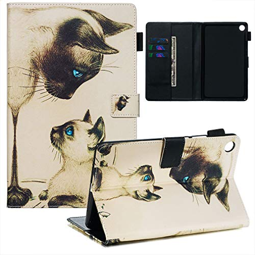 LMFULM® Hülle für Huawei MediaPad M5 (8,4 Zoll) PU Lederhülle Smart Hülle Cover Ständer Schutzhülle Flip Cover Zwei Katzen
