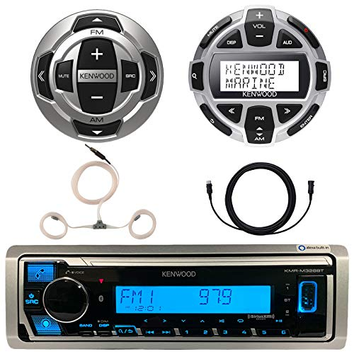 """Kenwood Marine Boat Yacht Digital Media USB AUX Bluetooth Stereo Receiver (No CD), Kenwood Digital LCD Display Wired Remote, Kenwood Wired Remote, 22"""" Enrock AM/FM Antenna, Extension Cable"""
