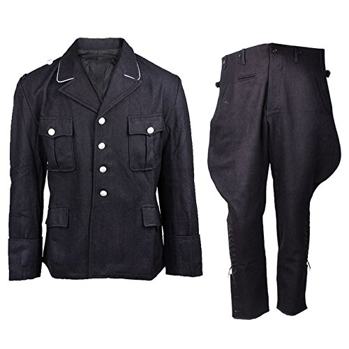 Heerpoint Reproduction Ww2 Wwii German Elite M32 Wool Tunic & Breeches Jacket & Trousers Military Uniform Set (Black) (L)
