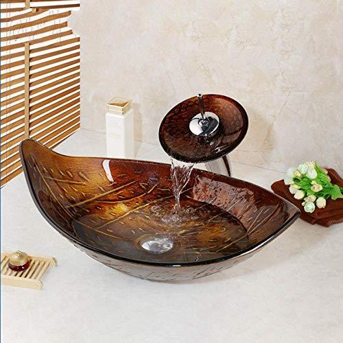 Gorheh Retro-Stil Glasschale Waschbecken Blatt Kunst Waschbecken Mit Wasserfall Wasserhahn Gehärtetem Glas Waschbecken Set