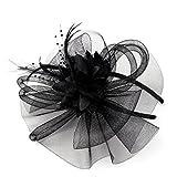 Tocados De Diademas Con Diseño Flor Pluma De Mujer Novia Para Boda O Fiesta (Negro)