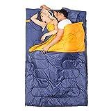 Vlook Wasserdichter Doppelschlafsack, kann in 2 geteilt Werden, mit Kompressionssack, tragbar und leicht, für Camping, Wandern, Reisen
