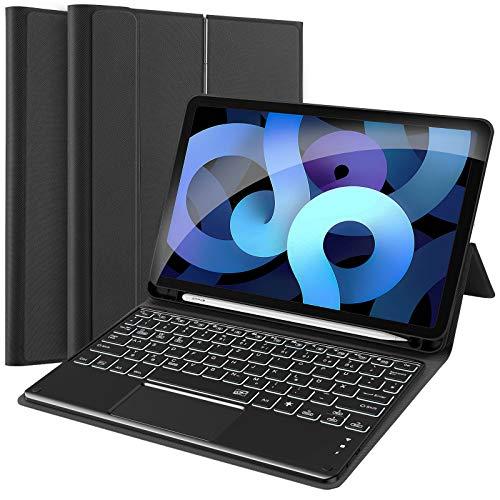 GEEMAI QWERTZ Beleuchtete Tastatur Hülle Kompatibel mit iPad 8/iPad 7/iPad Air 3 2019/ iPad Pro 10,5 Zoll,Tastatur Hülle mit Touchpad,Bluetooth Tastatur mit Schützhülle/Pencil Halter.