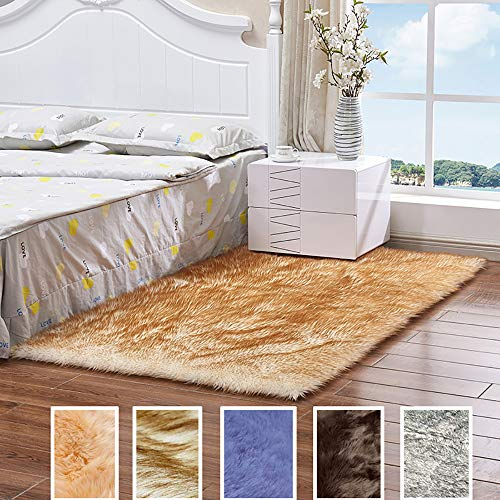 Carpet for Bedrooms, Bedside Rugs for Bedrooms Non Slip, Floor Rug With Non-Slip Non Shedding Soft Simple Modern, with 8 Carpet Sticker for Bedroom Living Room Area Rugs - White And Brown 80x120cm