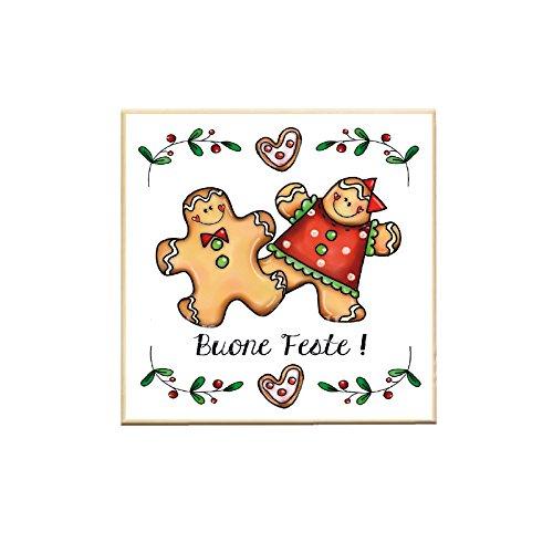 L'Angolo delle Idee Aimant carré magnétique « Bon Fete » en pain d'épices - Plaque de Noël - Idée cadeau