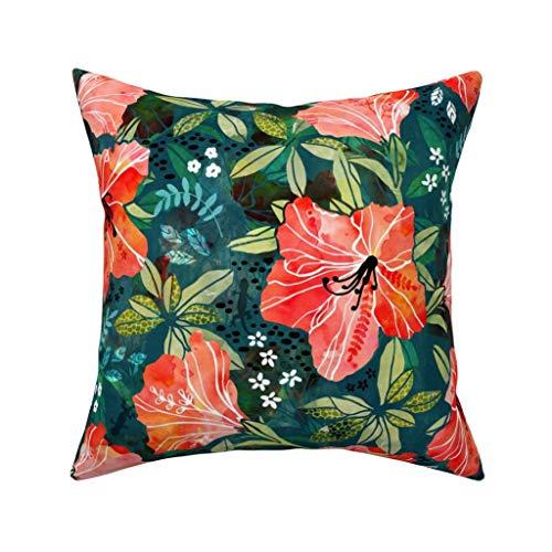 MrRui Decorative Pillow Covers Vibrant Rhododendrons Square Kissenhülle Cotton Kissenbezug Home Decor for Sofa Car Bedroom 18x18 Inch