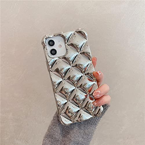 LIUYAWEI Shiny 3D Plating Cube Bumper Funda de Silicona Suave a Prueba de Golpes para iPhone 7 8 Plus X XS XR MAX 11 Pro SE 2 12 Mini 6 6S Funda, Plateada, para iPhone 12ProMax