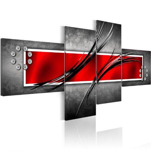 murando - Bilder Abstrakt 100x46 cm Vlies Leinwandbild 4 Teilig Kunstdruck modern Wandbilder XXL Wanddekoration Design Wand Bild - rot grau 051460