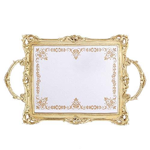 XMSIA Dekorativer Tablett-Parfüm-Tablett Dekoratives Tablett, Parfüm-Tablett, Metallgriffe, Eitelkeitsfach, Getränkeablage Spiegelfach für Kommoden Badezimmer (Color : Gold, Size : One Size)