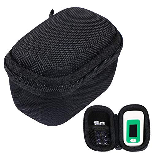 CABAX Hard Storage Case Bag for Fingertip Pulse Oximeter fits for Zacurate/Innovo Deluxe/Santamedical/Concord Sapphire Blood Oxygen Saturation Monitor Black
