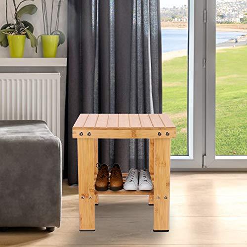 RBSD Bambusstuhl Eingangsbereich Bank Hocker Bambus Trittleiter Bambus Fußhocker Stuhl Möbel Mehrzweckstudie für Wohnzimmer Schlafzimmer Balkon Badezimmer(24 * 32 * 34cm medium)
