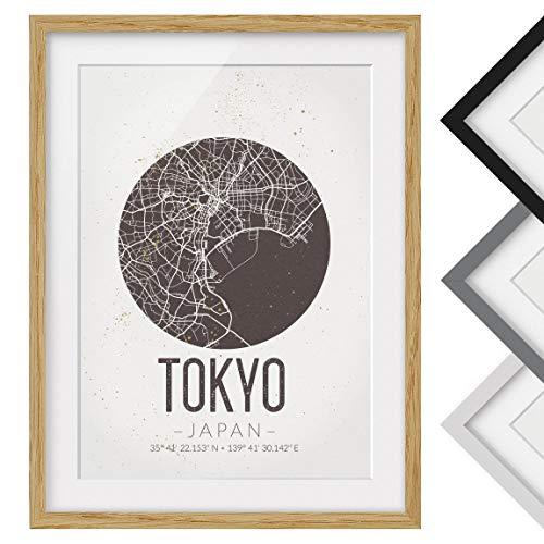 Bilderwelten Póster Enmarcado - Tokyo City Map - Retro - Marco Madera de encina 100 x 70 cm