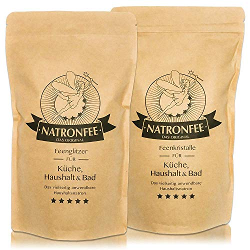 Natron 2kg Set – feines & grobes Salz/Backsoda, Lebensmittelqualität aus Deutschland E500(ii) NaHCO3.