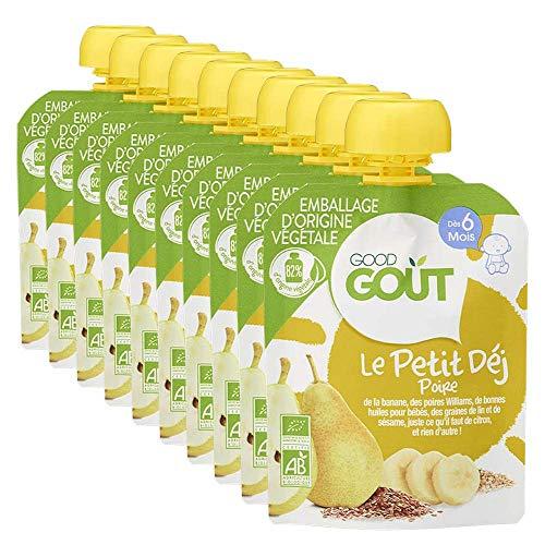 Good Goût - BIO - Gourde Petit Déj Poire dès 6 Mois 70 g - Pack de 10