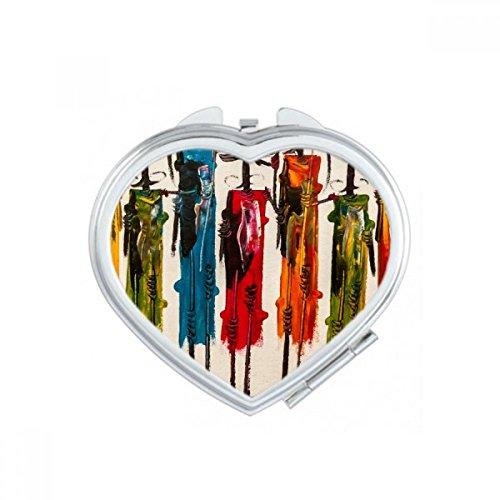 DIYthinker Espejo de Bolsillo Abstracto del Arte Africano primitivo aborigen Negro Corazón Guerrero Maquillaje Compacto Espejos Portable Pequeño Mano