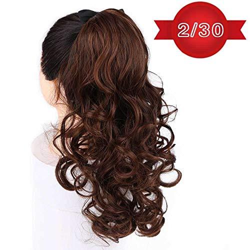 """Femme 22"""" longue perruque ondulée synthétique Ponytail Extensions Clip-in queue de cheval Extension de cheveux naturels Drawstring chaleur postiches r"""