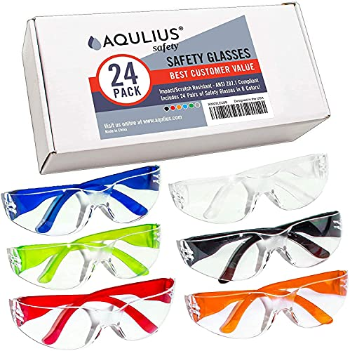 24 Pack of Safety Glasses (24 Protective Goggles in 6 Different Colors) Anti-Fog Crystal Clear Eye Protection - Perfect for Construction, Shooting, Lab Work, More!