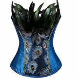 jutrisujo Costume Corsets for Women Lingerie Bustier Plus Size Embroidery Peacock Feather Halloween Blue 4XL