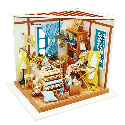 Robotime Spielzeug Geschenk - Puppenhaus Möbel und Zubehör - Selbermachen Kleidung Haus mit LED Licht für Jungen und Mädchen - Modell Bausatz Holz Puzzle für Kinder im Alter von 8 Jahren und Älter