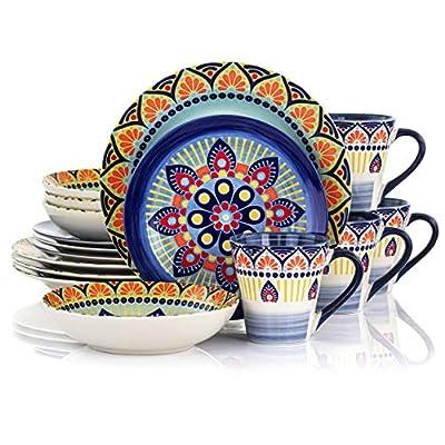 Elama Zen Blue Mozaik Multicolored Round Stoneware Mandala Pattern Dinnerware Set, 16 Piece