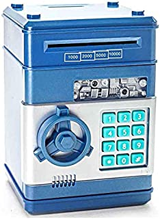 icome Kids Electronic Money Safe Box Password Saving Bank ATM For Coins and Bills (Blue)