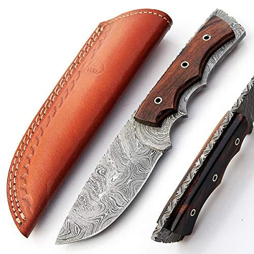SBRA 9410 Couteau à lame fait main en acier damas fait main Rose manche en bois avec gaine Chef Cuisine Billet Pliant camping couverts à la maison de pêche poche et autres couteaux