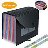 Accordian File Organizer,24 Pockets Expanding File Folder with Expandable Cover,Standing Document Organizer,Rainbow...