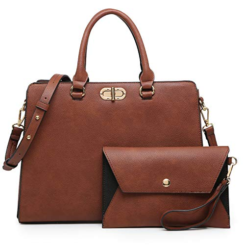 Dasein Women Handbags Satchel Purses Shoulder Bag Top Handle Work Tote for Lady with Matching Wristlet 2pcs Set (Peppled coffee)