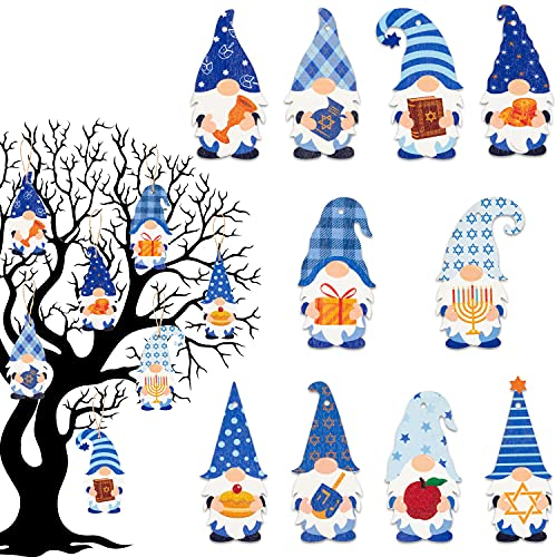 MALLMALL6 31Pcs Hanukkah Gnome Hanging Wood Ornament Kit with Rope Menorah Dreidel Hexagram Blue & White Grid Elf with Hat Wooden Hanging Tags Home Party Decoration for Chanukkah Favors Supplies