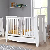 <span class='highlight'>Tutti</span> <span class='highlight'>Bambini</span> Katie Space Saver Sleigh Cot Bed with Under Bed Drawer - 120 X 60cm Converts to Junior/Toddler Bed (White) 3 Positions