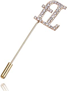 f6c184af6 AILUOR A to Z Initial 26 English Letters Brooch Pin, Silver Plated Metal  Clear AAA+