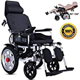 DGPOAD Electric Wheelchair, Heavy Duty Electric Wheelchair with Headrest, Foldable Folding,electric Power or Manual Manipulation,adjustable Backrest and Pedal, Ideal for Outdoors or Indoors/Black