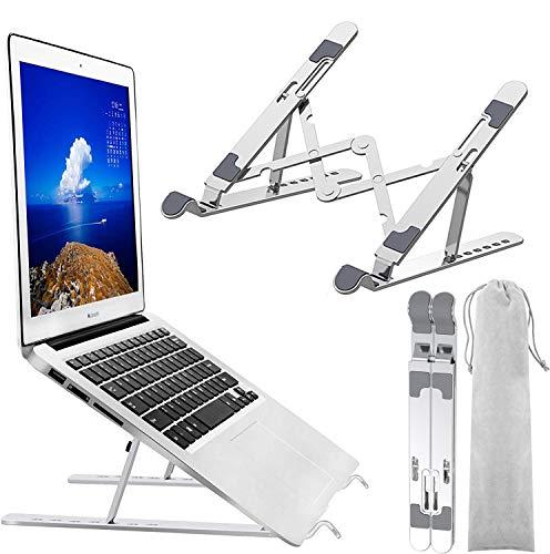 Soporte para computadora portátil, ergonómico ajustable en 7 ángulos, aleación de aluminio, soporte portátil y plegable, compatible con tabletas y teléfonos móviles de 10-15,6 pulgadas