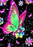 UKboken Butterfly Diamond Painting Kits for Adults Kids, Round Crystal Diamond Art Kits, DIY 5D Diamond Painting by Numbers for Home Wall Decor, 12x16 inch
