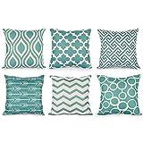 TIDWIACE® Grün Kissenbezüge Kissenhüllen in Baumwolle und Leinen mit Geometrischen Mustern...