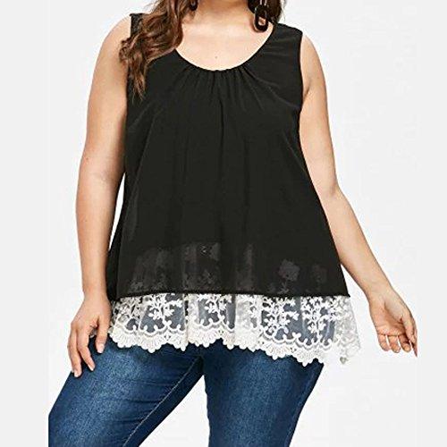 Bazahy Women Chiffon Floral Casual Flower Lace Plus Size Blouse Top Shirts Tank Vest Baggy Comfy Leisure Blouse