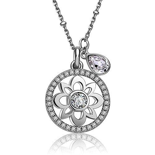 BROSWAY - Collana in argento con pendente fiore centrale e swarovski bianchi BROSWAY G9NA03