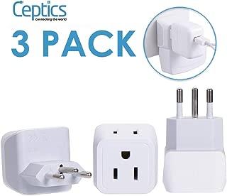 Ceptics Brasil Adaptador de Viaje Enchufe - Tipo N (Paquete de 3) - Entrada Doble de EE. UU. - Perfecto para teléfonos celulares, computadoras portátiles, Cargadores de cámara (CT-11C)